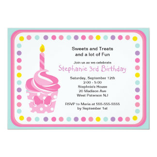 Pink Cupcake Girls 1st  Birthday Party Invitation