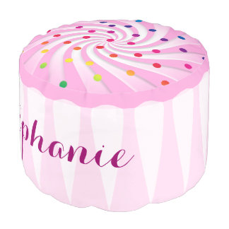 Pink Cupcake Girl's Personalized Room Decor Round Pouf