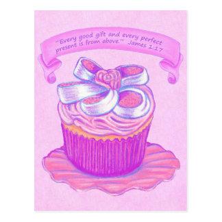 Pink Cupcake~Good Gift Above Scripture Postcard