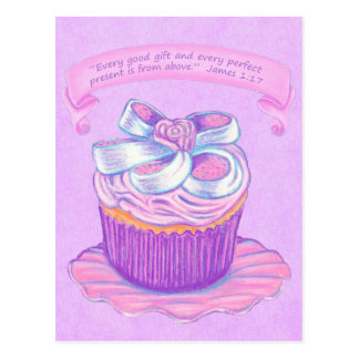 Pink Cupcake~Good Gift Scripture Postcard