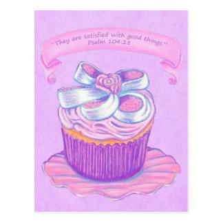 Pink Cupcake~Good Things Scripture Postcard