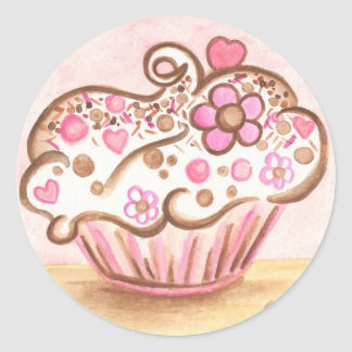 Pink Cupcake Heart Flower Sticker