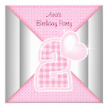 """Pink Cupcake Heart Girls 2nd Birthday Party 5.25"""" Square Invitation Card"""