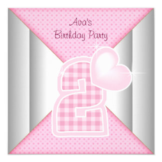 "Pink Cupcake Heart Girls 2nd Birthday Party 5.25"" Square Invitation Card"