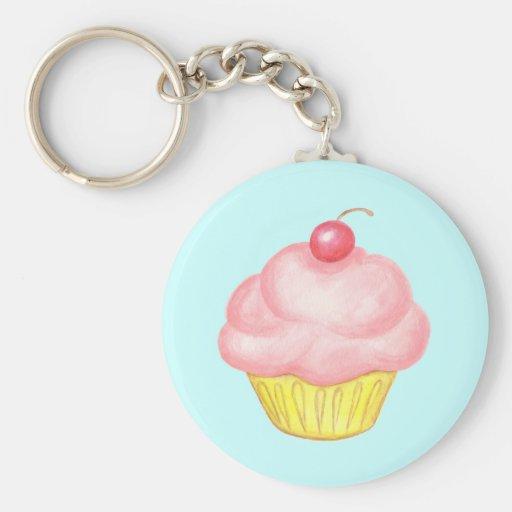 Pink Cupcake Keyring Keychains
