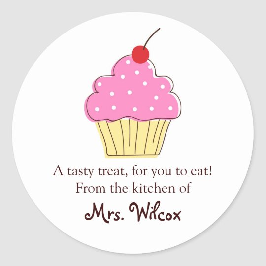Pink Cupcake labels, From the Kitchen Of... Classic Round Sticker