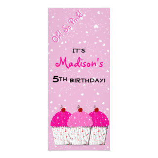 Pink Cupcake Love Birthday Party Card