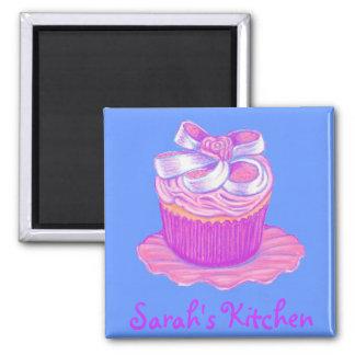 Pink Cupcake Magnet ~ Customize with name