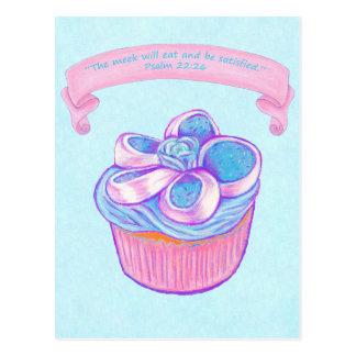 Pink Cupcake~Meek Eat Scripture Postcard
