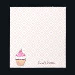 """Pink Cupcake Notepad<br><div class=""""desc"""">A wonderful notepad for anything from love notes to writing a grocery list.  It has a white background with a pink geometric pattern.  A pink cupcake sits at the bottom with customizable text.</div>"""