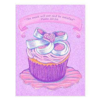Pink Cupcake on Plate 2~ Scripture Postcard