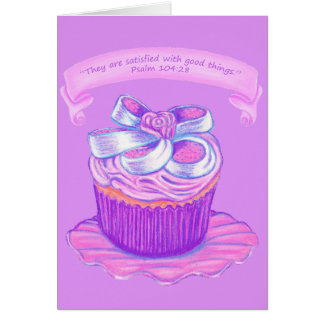 Pink Cupcake on Plate Card ~Scriptures