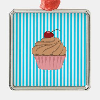 Pink Cupcake on Teal Metal Ornament