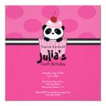 "Pink Cupcake Panda Birthday Party Invitation 5.25"" Square Invitation Card"
