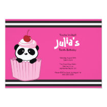 Pink Cupcake Panda Birthday Party Invitation