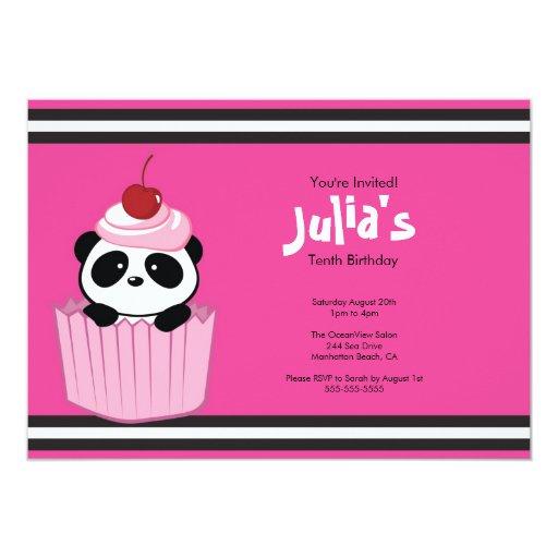 "Pink Cupcake Panda Birthday Party Invitation 5"" X 7"" Invitation Card | Zazzle"