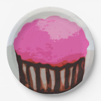 """Pink Cupcake Paper Plates 9"""" 9 Inch Paper Plate"""
