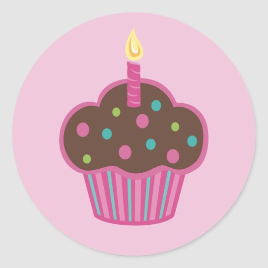 Pink Cupcake Party Favor Sticker