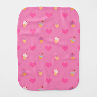 Pink Cupcake Pattern Baby Burp Cloth