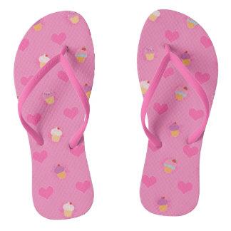 Pink Cupcake Pattern Flip Flops