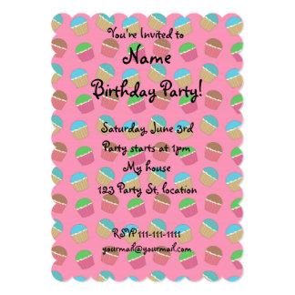 Pink cupcake pattern 5x7 paper invitation card