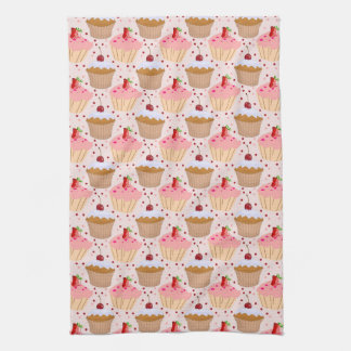 Pink Cupcake Pattern Kitchen Towels