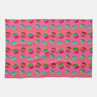 Pink cupcake pattern hand towel