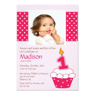 "Pink Cupcake Photo Birthday Invitation 5"" X 7"" Invitation Card"