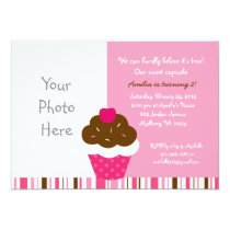 Pink Cupcake Photo Birthday Invitations