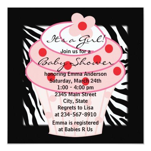 Pink Cupcake Pink Zebra Baby Shower 5.25x5.25 Square Paper Invitation Card