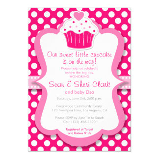 Pink Cupcake Polka Dot Girl Baby Shower Invitation