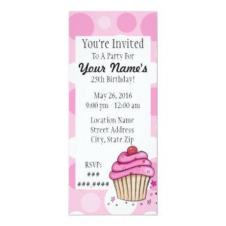 Pink Cupcake Polka Dot Invitations