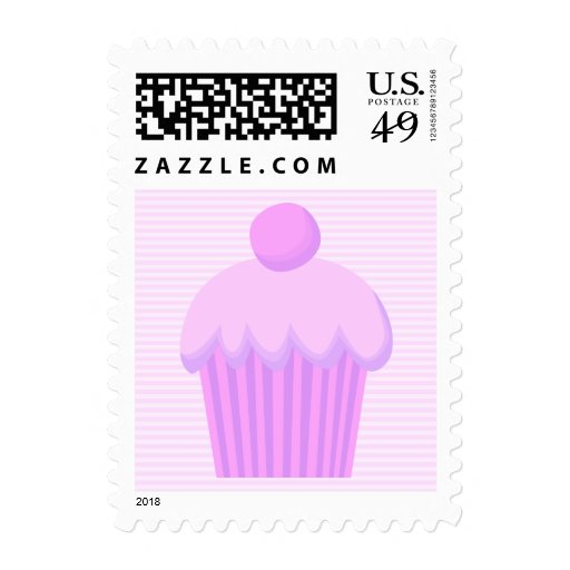 Pink Cupcake. Postage Stamps