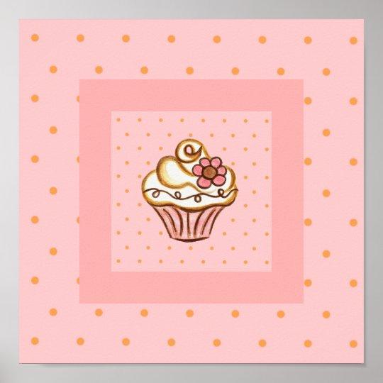 Pink Cupcake Poster Art Print