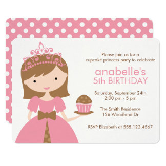 Pink Cupcake Princess Birthday Party Card