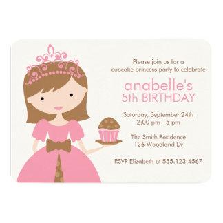 Pink Cupcake Princess Birthday Party 5x7 Paper Invitation Card