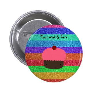 Pink cupcake rainbow glitter pinback button