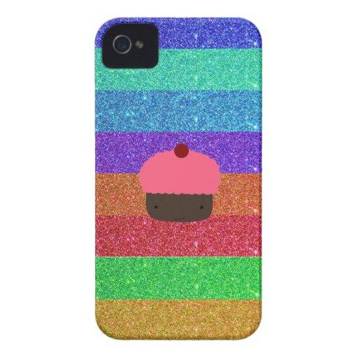 Pink cupcake rainbow glitter iPhone 4 cases