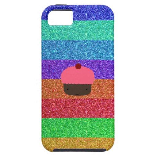 Pink cupcake rainbow glitter iPhone 5 cover