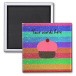 Pink cupcake rainbow glitter magnets