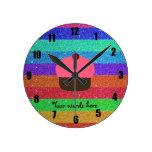Pink cupcake rainbow glitter round clocks