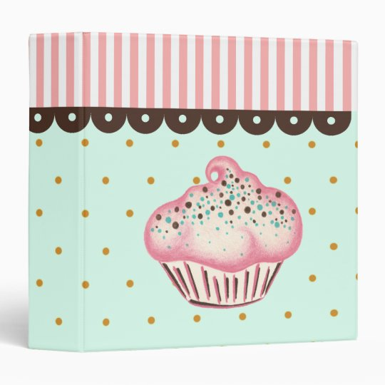 Pink Cupcake Recipe Organizer Cookbook Binder