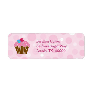 Pink Cupcake Return Address Label