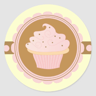Pink Cupcake Round Stickers