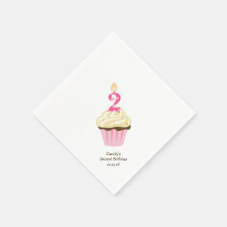 Pink cupcake second birthday party paper napkin