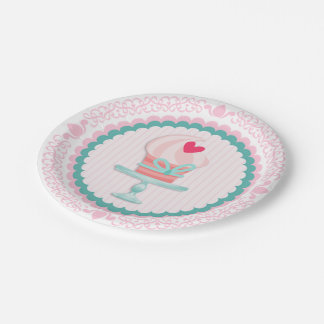 Pink Cupcake 7 Inch Paper Plate