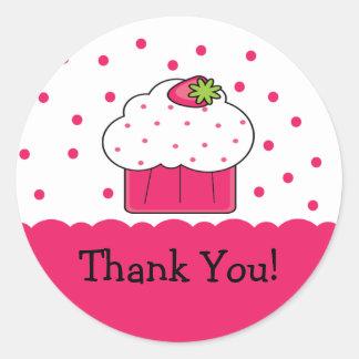 Pink Cupcake Thank You Birthday Sticker