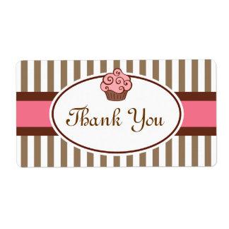 Pink Cupcake Thank You Labels