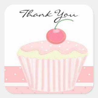 Pink Cupcake Thank You Square Sticker