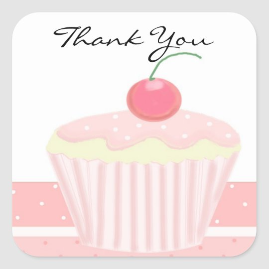 Pink Cupcake Thank You Square Sticker
